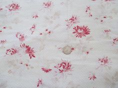 Antique French Fabric Red Roses Floral on Butter Cream 29 x 87 French Farmhouse by SimplyCottageChic on Etsy
