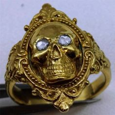 WOW Museum 18th Century Georgian 22K Coin Gold Diamonds Memento Mori Skull Ring | eBay