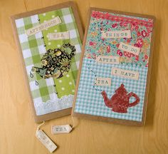 Covered notebooks with tea theme
