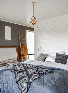 Tarja's Snowland, scandinavian interior design, bedroom, copper lights, frandsen, granny square crochet
