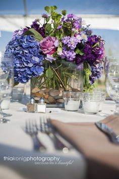 Summer Wedding in Sun Valley, Idaho  Purple Flowers by taylordeventssv.com and Photography by Thia Konig