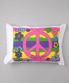 Personalized Groovy Peace Sign Pillow Case
