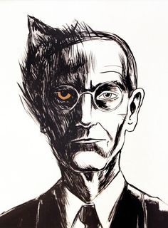 """""""He calls himself part wolf, part man, and with that he thinks he has come to an end and exhausted the matter"""" - Hermann Hesse, Steppenwolf Hermann Hesse, Der Steppenwolf, Johann Wolfgang Von Goethe, Scary Movies, Book Art, Pop Culture, Creepy, Illustration Art, Sketches"""