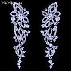 AAA Crystal White K Gold Plated Brinco Flower Long Drop Earrings For Women Wedding Accessories Bridal Jewelry EH435