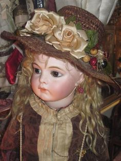 HAUTE COUTURE Antique Straw Doll Milliner's Hat for BRU or JUMEAU from doriansroom on Ruby Lane