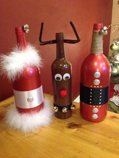 santa mrs claus rudolph wine bottle diy
