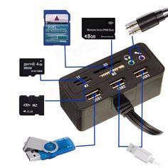 Office USB2.0 Hub Adaptor 9 in 1 Splitter Support TF/MS/M2/SD Card Sale - Banggood.com