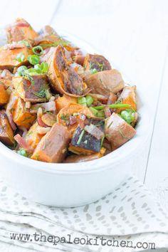 Healthy, easy side dish: Paleo Bacon Lime Sweet Potato Salad recipe #food #paleo #glutenfree #sweetpotatoes