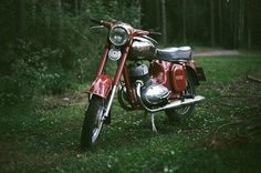 From Summer Jawa in the forest near Komarovo 400 fuji color/ Canon Moto Jawa, Jawa 350, Biker, Motorcycle, Vehicles, South Africa, Heaven, Boots, Sky