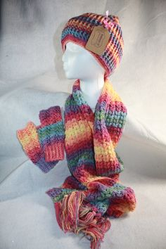 Rainbow Colors Hat, Fingerless gloves and Scarf Set w/Free shipping by pamsprideembroidery on Etsy
