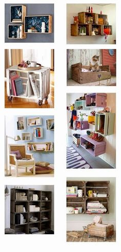 Love the crates on the wall used as shelves Diy Casa, Creation Deco, New Room, Pallet Furniture, Home Organization, Home Projects, Diy Home Decor, Home Improvement, Sweet Home
