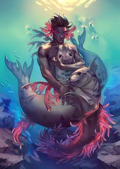 "orsob: ""Illustration I did for MerMay a merman with some friendly seals "" Male Mermaid, Mermaid Man, Siren Mermaid, Tattoo Mermaid, Black Mermaid, Magical Creatures, Fantasy Creatures, Sea Creatures, Mermaid Artwork"