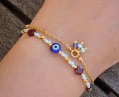 FREE SHIPPING Evil Eye Beaded Bracelet by cocolocca on Etsy