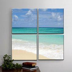 White Sand Beach, Photography, 4 Panel Canvas Art, Sky, Waves, Tropics, Beach, Home Decor - Grooving Slowly - READY TO HANG on Etsy, $195.00