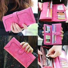 Hot  Latest Fashion Retro Matte Stitching Leather Lady Women Wallet Long Card Holder Purse Clutch  Handbag(China (Mainland))