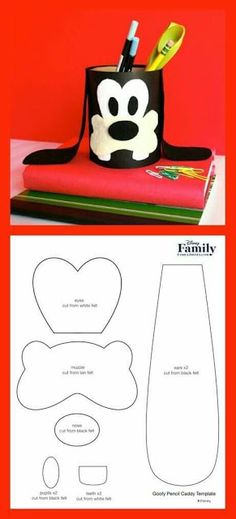 Homework is fun when your favorite Disney pal, Goofy, is there to lend a hand. Turn a recycled oatmeal container into a Goofy pencil caddy! Foam Crafts, Preschool Crafts, Diy And Crafts, Crafts For Kids, Craft Activities, Paper Crafts, Minnie Mouse Party, Mouse Parties, Mickey Mouse