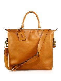 Polo Ralph Lauren Leather Zip Tote in Brown for Men (cognac)