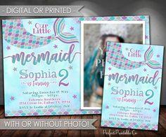 Mermaid Birthday Invitation, Mermaid Invitation, Mermaid Birthday Party Invitation, Mermaid Invite, Teal Purple Silver, Girl Mermaid, #598 by PerfectPrintableCo on Etsy