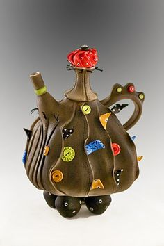 teapot, fanciful, porcelain, one of a kind