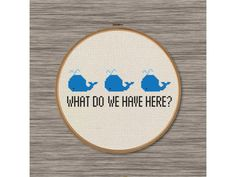 PDF Cross Stitch Pattern: Funny and cute Whale Pun by DJStitches