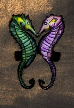 Art Print Seahorses in love seahorse couple aqua by GeniGreenhill, $8.00
