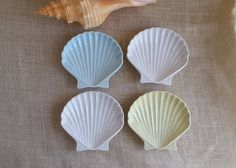 Shell Dishes Sea Shell Vintage Ceramic SMALL PLATES Dish Seafood Bowl Shell Ceramic Decor Beach Decor by RandomAmazing on Etsy