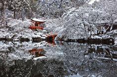 Храм в Киото, Япония. После снегопада.