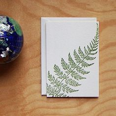 Letterpress Card Set | Saturn Press | Curve Fern