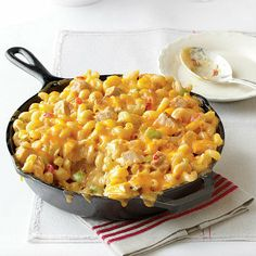 """Have a skillet? You can make this """"King Ranch Chicken Mac and Cheese"""" in no time!"""