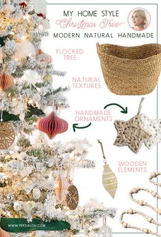Journey Nursing Organizations - How To Define Fantastic Nursing Agencies How To Achieve A Natural And Modern Christmas Tree Look. A Modern Flocked Christmas Tree With Green, Pink, And Natural Wood Elements Flocked Christmas Trees, Handmade Christmas Tree, Modern Christmas, Handmade Ornaments, Handmade Decorations, Christmas Fun, Christmas Decorations, Pink Nature, Diy Ideas