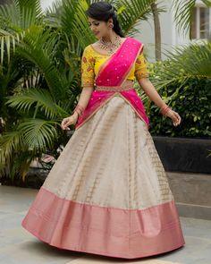 Traditional Pattu Half Sarees For women - Indian Fashion Ideas Choli Designs, Lehenga Designs, Half Saree Designs, Saree Blouse Designs, Lehenga Saree Design, Half Saree Lehenga, Saree Look, Bridal Lehenga, Saree Wedding