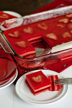 "Valentines Day layered Jello Salad: So fun, and easy to make with strawberry ""Hearts"". (scheduled via http://www.tailwindapp.com?utm_source=pinterest&utm_medium=twpin&utm_content=post510129&utm_campaign=scheduler_attribution)"