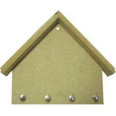 Porta Chaves Casinha com 4 Pinos de MDF Madeira Crua - Tamanho:  19 x 22 x 0,5 cm