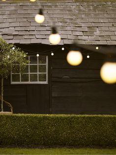 white festoon outdoor string of globe lights