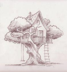 Ideas Art Dessin Arbre For 2019 Pencil Art Drawings, Art Drawings Sketches, Easy Drawings, Horse Drawings, Dress Sketches, Amazing Drawings, Animal Drawings, Tree House Drawing, Tree Drawing Simple