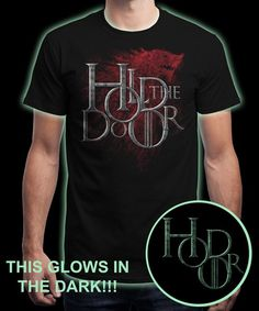 """Hold the Door-Glow"" is today's £8/€10/$12 tee for 24 hours only on www.Qwertee.com Pin this for a chance to win a FREE TEE this weekend. Follow us on pinterest.com/qwertee for a second! Thanks:)"