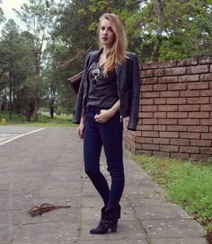 Basic look, leather jacket, hot pants