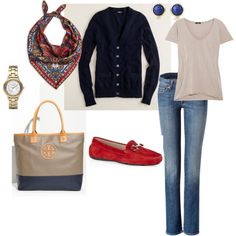Navy with Red by kateye on Polyvore featuring polyvore, fashion, style, J.Crew, Bassike, n.d.c., Salvatore Ferragamo, Tory Burch, DKNY and Elsa Peretti