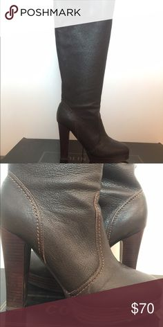 Colin Stuart knee high leather boots Pre owned but like new. Very slight wear in the soles as they were only worn twice. Dark brown leather knee high boots  4 1/2 inch heel  11.5 inch circumference around ankle 16 inch circumference at top opening Retail price $160 Smoke free home Colin Stuart Shoes Heeled Boots