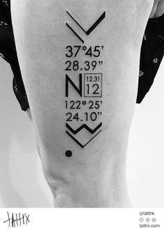 The date and coordinates of where she first met her man. #typography #design #tattoo by Ben Volt