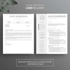 Cv Template With Matching Cover Letter  Reference Page  Etsy