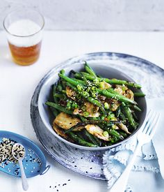 Miso chicken and green beans with sesame. This is a simple chicken and green bean dish, inspired by Kylie Kwong, and packed full of flavour.