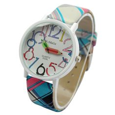 The product is a fashion quartz silicone band wrist watch, it is very popular. Product Description Details: Band material: leather Case material: metal Cartoon dial design with pencil shape index Clasp: buckle Movement: quartz Product size: L 24x W 4cm Package include: Wrist w...
