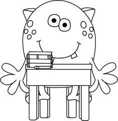 Black and White Monster in School Clip Art - Black and White Monster in School Image Monster Coloring Pages, Coloring Pages For Boys, Printable Adult Coloring Pages, Coloring Book Pages, Coloring Sheets, Monster Under The Bed, Paper Bag Puppets, School Images, Monster Party