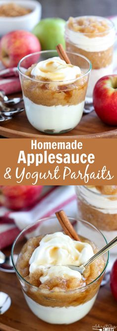 Homemade Applesauce and Yogurt Parfaits - Homemade applesauce flavored with cinnamon and maple syrup and served with yogurt and granola. Healthy Yogurt Parfait, Yogurt Nutrition, Yogurt And Granola, Easy Snacks, Easy Desserts, Delicious Desserts, Yummy Food, Apple Desserts, Apple Recipes