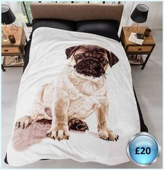 Pug Print Fleece Throw Faux mink throws that are as soft and snug as a bug (or a pub) in a rug, perfect for chilly nights in bed or cuddling on the sofa with you favourite animal or person. 100% polyester. Hand wash. Size L200 x W150cm Please message me for more information.   x