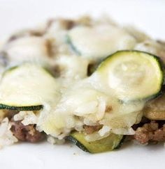 Ground beef mixed with zucchini, fresh mushrooms, green onions, chopped green chilies and sour cream. Top with shredded monterey jack cheese and bake until melted for a delicious meal.