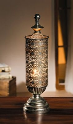 Metal Oriental-style Table Candle Lantern - Mirage Antique Silver Candle Lantern Product SKU: CL221833