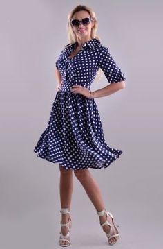 Платье в горошек - темно-синее с белым - ПЛ-70-8178