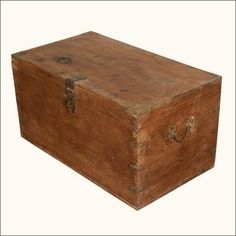Brown Vintage Reclaimed Wood Steamer Rustic Storage Trunk Chest